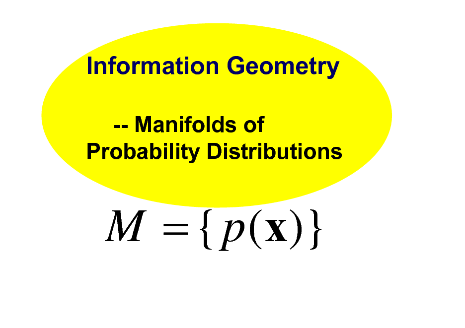 Slide: Information Geometry -- Manifolds of Probability Distributions  M = { p (x)}
