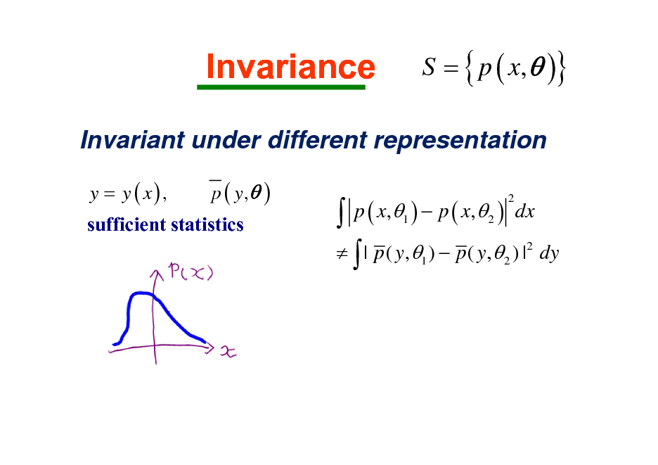 Slide: Invariance  S = { p ( x,  )}  Invariant under different representation y = y ( x), p ( y, ) sufficient statistics   p ( x, )  p ( x, ) dx   | p ( y,  )  p ( y,  ) | dy 2 1 2 2 1 2