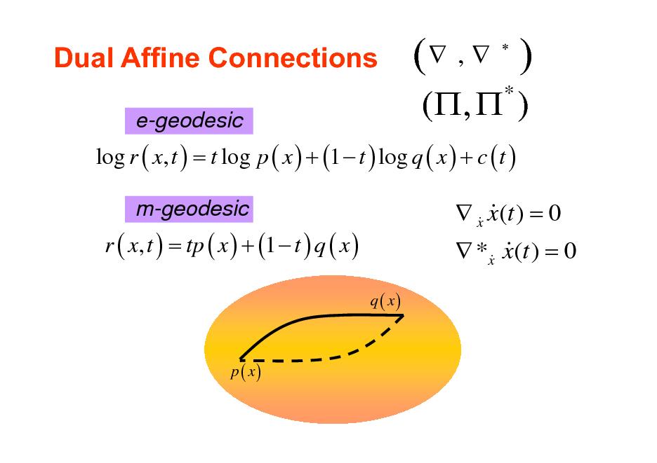 Slide: Dual Affine Connections e-geodesic  ( ,  )   ( ,  ) *  log r ( x, t ) = t log p ( x ) + (1  t ) log q ( x ) + c ( t ) m-geodesic  r ( x, t ) = tp ( x ) + (1  t ) q ( x ) q ( x)   x x(t ) = 0 & &  *x x(t ) = 0 & &  p ( x)