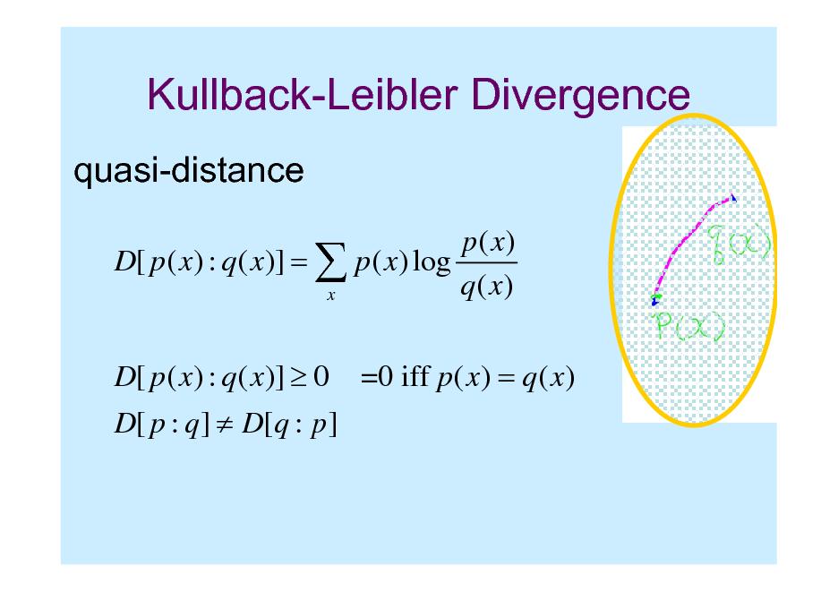Slide: Kullback-Leibler Divergence quasi-distance p( x) D[ p ( x) : q ( x)] =  p ( x) log q( x) x D[ p ( x) : q ( x)]  0 D[ p : q ]  D[q : p ] =0 iff p ( x) = q ( x)