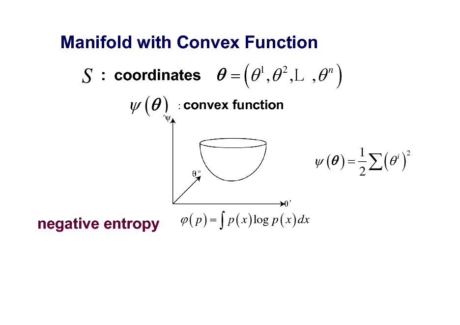 Slide: Manifold with Convex Function  S  : coordinates   ( )   = ( 1 , 2 ,L , n ) function  : convex  1 i 2  ( ) =  ( ) 2  ( p ) =  p ( x ) log p ( x ) dx  negative entropy