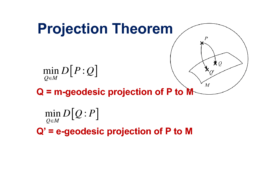 Slide: Projection Theorem min D [ P : Q ] QM  Q = m-geodesic projection of P to M  min D [Q : P ] QM  Q = e-geodesic projection of P to M