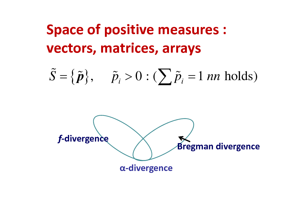 Slide: Spaceofpositivemeasures: vectors,matrices,arrays % % S = { p} , % % pi > 0 : (  pi = 1 nn holds)  fdivergence divergence  Bregmandivergence