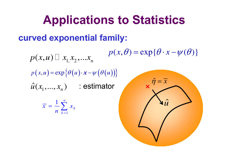 Slide: Applications to Statistics curved exponential family:  p ( x, u )  x1, x2 ,...xn  p ( x,  ) = exp{  x  ( )}  p ( x, u ) = exp  ( u )  x  ( ( u ) )  {  }   u ( x1 ,..., xn ) 1 x = n  : estimator xk   =x    n   u  k =1
