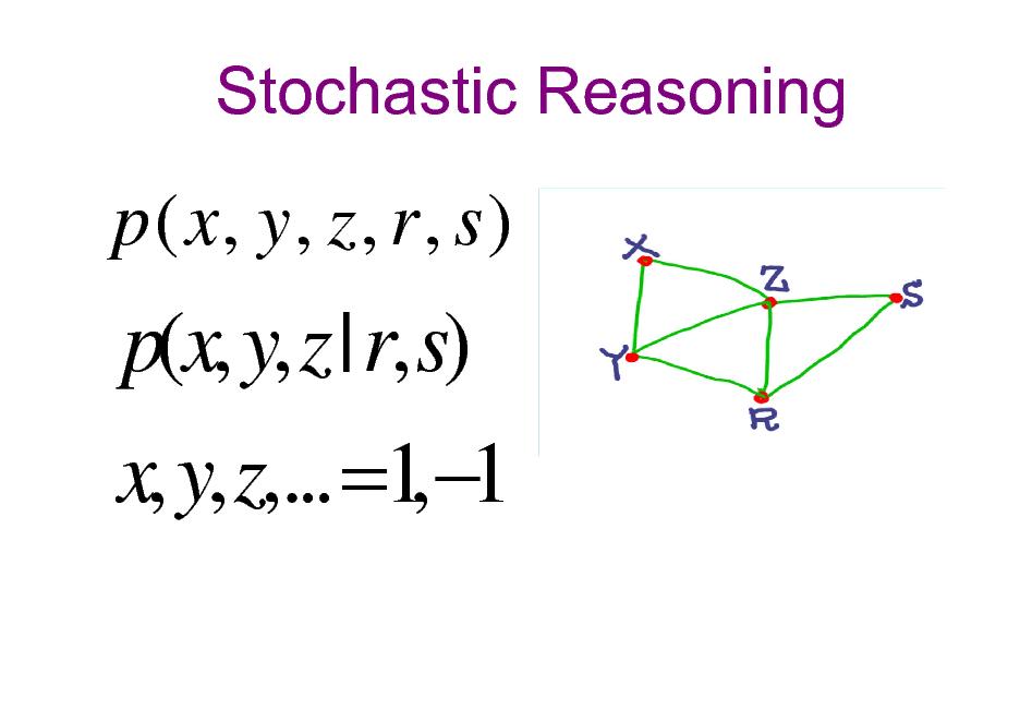 Slide: Stochastic Reasoning  p ( x, y , z , r , s )  p(x, y, z | r, s) x, y, z,... =1 1 ,