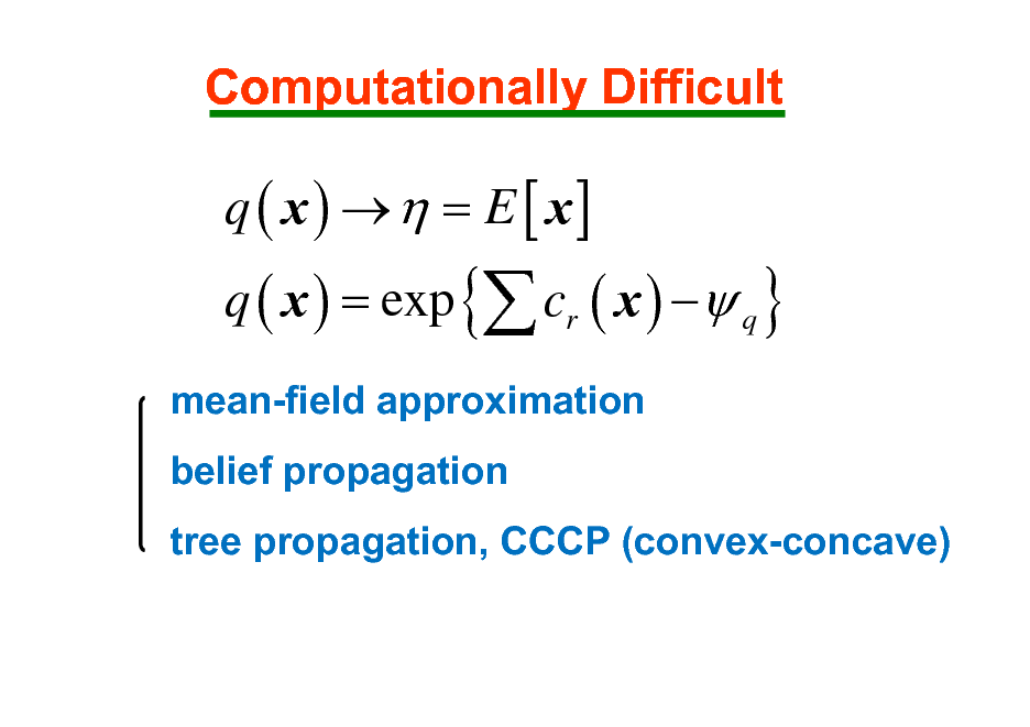 Slide: Computationally Difficult  q ( x )   = E [ x]  q ( x ) = exp { cr ( x )  q } mean-field approximation belief propagation tree propagation, CCCP (convex-concave)