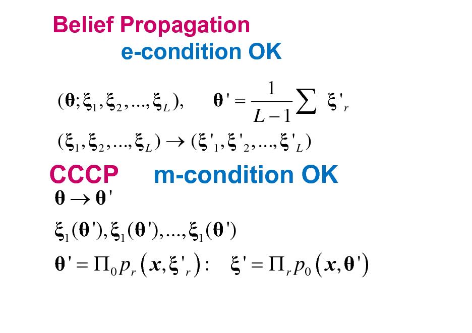 Slide: Belief Propagation e-condition OK 1 ( ; 1 ,  2 ,...,  L ),  ' =   'r L 1 ( 1 ,  2 ,...,  L )  (  '1 ,  ' 2 ,...,  ' L )  CCCP   '  m-condition OK  1 ( '), 1 ( '),..., 1 ( ')   ' =  0 pr ( x,  ' r ) :  ' =  r p0 ( x,  ' )