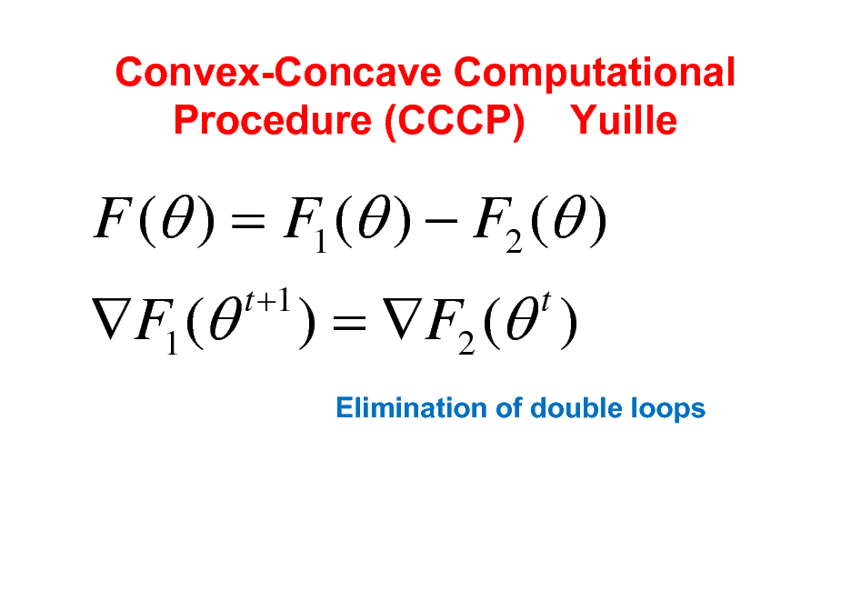 Slide: Convex-Concave Computational Procedure (CCCP) Yuille  F ( ) = F1 ( )  F2 ( ) F1 ( t +1  ) = F2 ( ) t Elimination of double loops