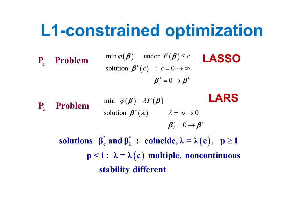 Slide: L1-constrained optimization Pc Problem min  (  ) under F (  )  c solution   ( c ) : c = 0    LASSO LARS   c = 0     P Problem  min  (  ) +  F (  ) solution   (  )   =0   = 0     solutions * and * : coincide,  =  ( c ) , p  1 c  p < 1 :  =  ( c ) multiple, noncontinuous stability different