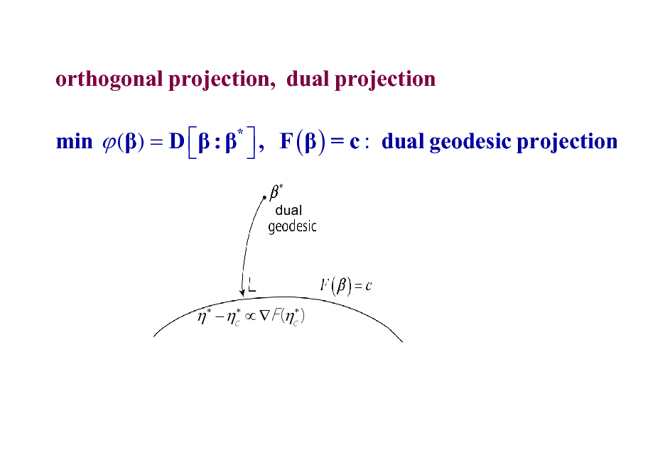 Slide: orthogonal projection, dual projection min  () = D  : *  , F (  ) = c : dual geodesic projection   dual