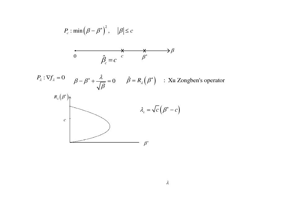 Slide: Pc : min (     ) , 2   c   0   c = c  =0   c      P : f  = 0 R (   )     +    = R (   )  : Xu Zongben's operator  c = c (    c ) c