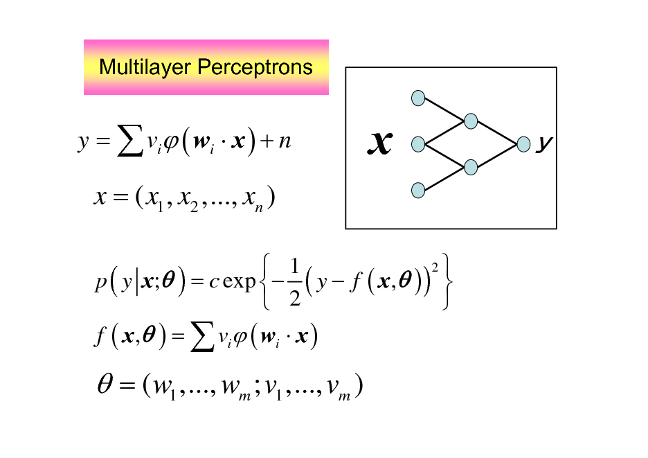 Slide: Multilayer Perceptrons  y =  vi ( wi  x ) + n  x    x = ( x1 , x2 ,..., xn ) 2  1 p ( y x; ) = c exp  ( y  f ( x , ) )   2  f ( x , ) =  vi ( wi  x )   = ( w1 ,..., wm ; v1 ,..., vm )