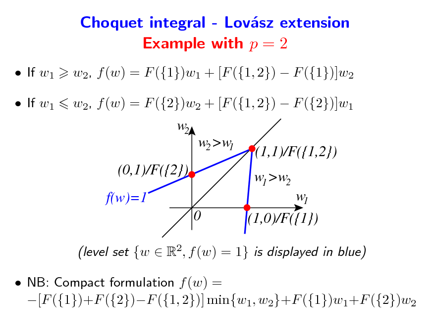 Slide: Choquet integral - Lovsz extension a Example with p = 2  If w1  If w1 w2, f (w) = F ({1})w1 + [F ({1, 2})  F ({1})]w2 w2, f (w) = F ({2})w2 + [F ({1, 2})  F ({2})]w1  w2  w2 >w1 (0,1)/F({2}) f(w)=1 0  (1,1)/F({1,2}) w1 >w2 w1 (1,0)/F({1})  (level set {w  R2, f (w) = 1} is displayed in blue)  NB: Compact formulation f (w) = [F ({1})+F ({2})F ({1, 2})] min{w1, w2}+F ({1})w1+F ({2})w2