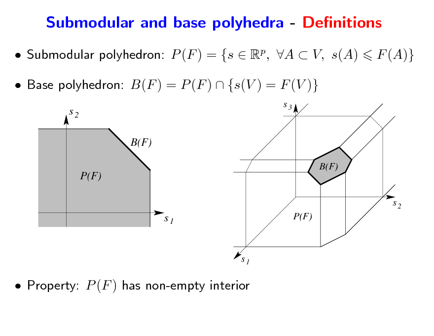 Slide: Submodular and base polyhedra - Denitions  Submodular polyhedron: P (F ) = {s  Rp, A  V, s(A)  Base polyhedron: B(F ) = P (F )  {s(V ) = F (V )} s2 B(F) P(F) B(F) s3  F (A)}  s2  s1  P(F)  s1   Property: P (F ) has non-empty interior