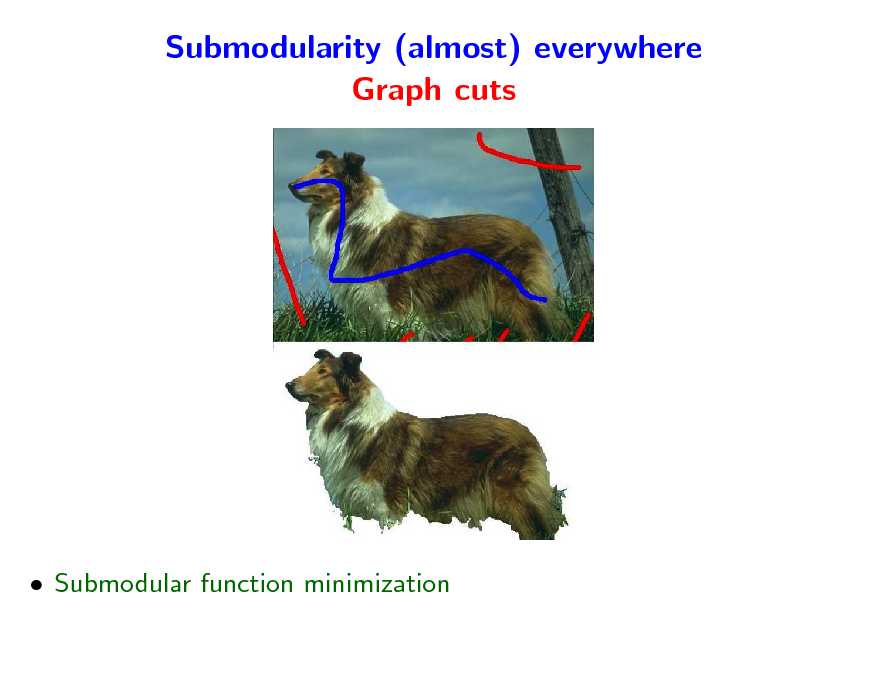 Slide: Submodularity (almost) everywhere Graph cuts   Submodular function minimization