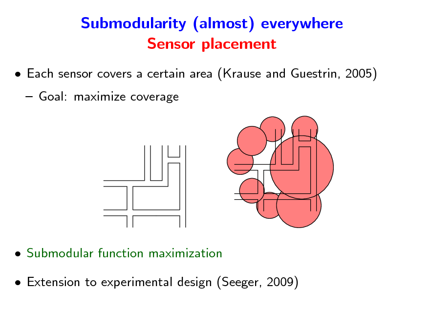 Slide: Submodularity (almost) everywhere Sensor placement  Each sensor covers a certain area (Krause and Guestrin, 2005)  Goal: maximize coverage   Submodular function maximization  Extension to experimental design (Seeger, 2009)