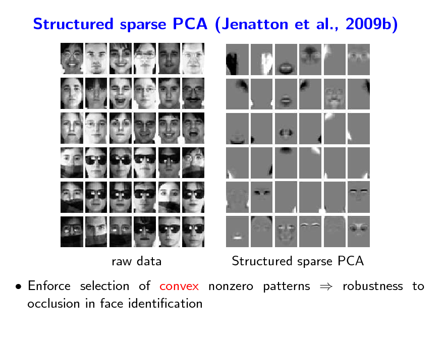 Slide: Structured sparse PCA (Jenatton et al., 2009b)  raw data  Structured sparse PCA   Enforce selection of convex nonzero patterns  robustness to occlusion in face identication