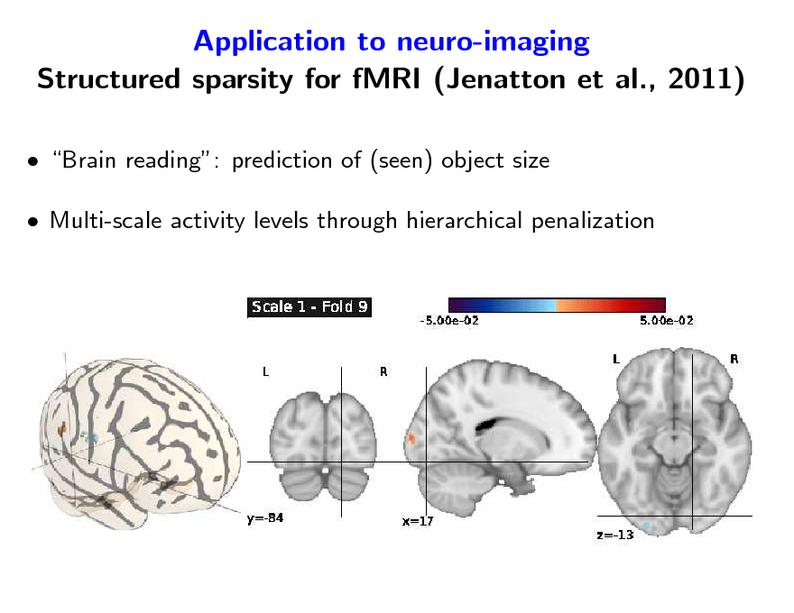 Slide: Application to neuro-imaging Structured sparsity for fMRI (Jenatton et al., 2011)  Brain reading: prediction of (seen) object size  Multi-scale activity levels through hierarchical penalization
