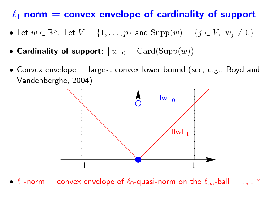 Slide: 1-norm = convex envelope of cardinality of support  Let w  Rp. Let V = {1, . . . , p} and Supp(w) = {j  V, wj = 0}  Cardinality of support: w 0  = Card(Supp(w))   Convex envelope = largest convex lower bound (see, e.g., Boyd and Vandenberghe, 2004) ||w|| 0  ||w|| 1  1  1   1-norm = convex envelope of 0-quasi-norm on the -ball [1, 1]p
