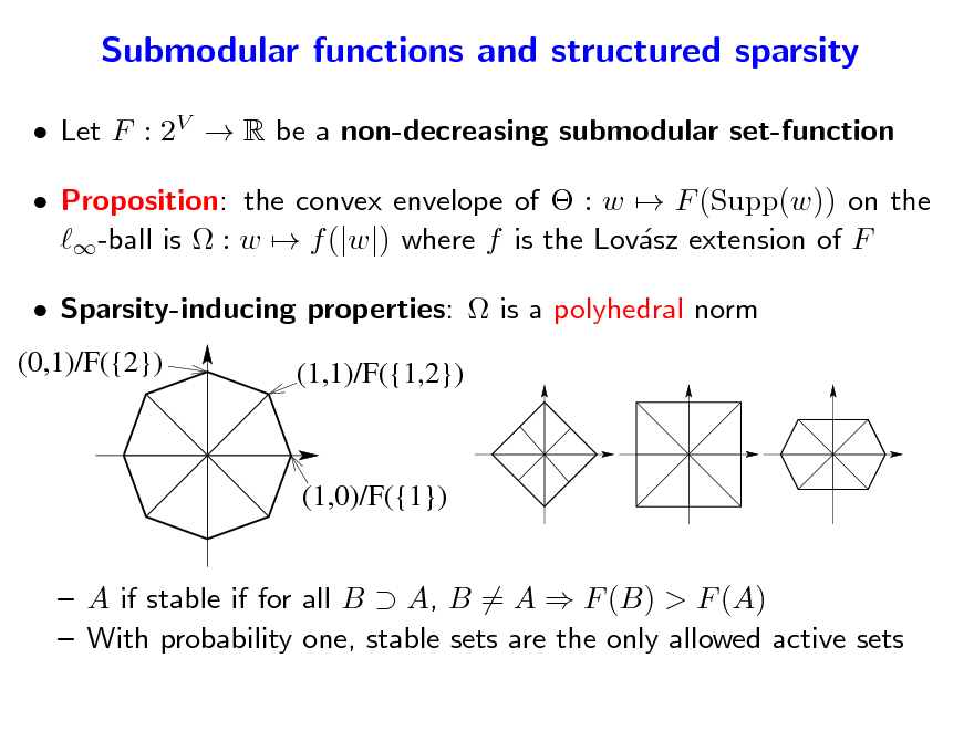 Slide: Submodular functions and structured sparsity  Let F : 2V  R be a non-decreasing submodular set-function  Proposition: the convex envelope of  : w  F (Supp(w)) on the -ball is  : w  f (|w|) where f is the Lovsz extension of F a  Sparsity-inducing properties:  is a polyhedral norm (0,1)/F({2}) (1,1)/F({1,2})  (1,0)/F({1})   A if stable if for all B  A, B = A  F (B) > F (A)  With probability one, stable sets are the only allowed active sets