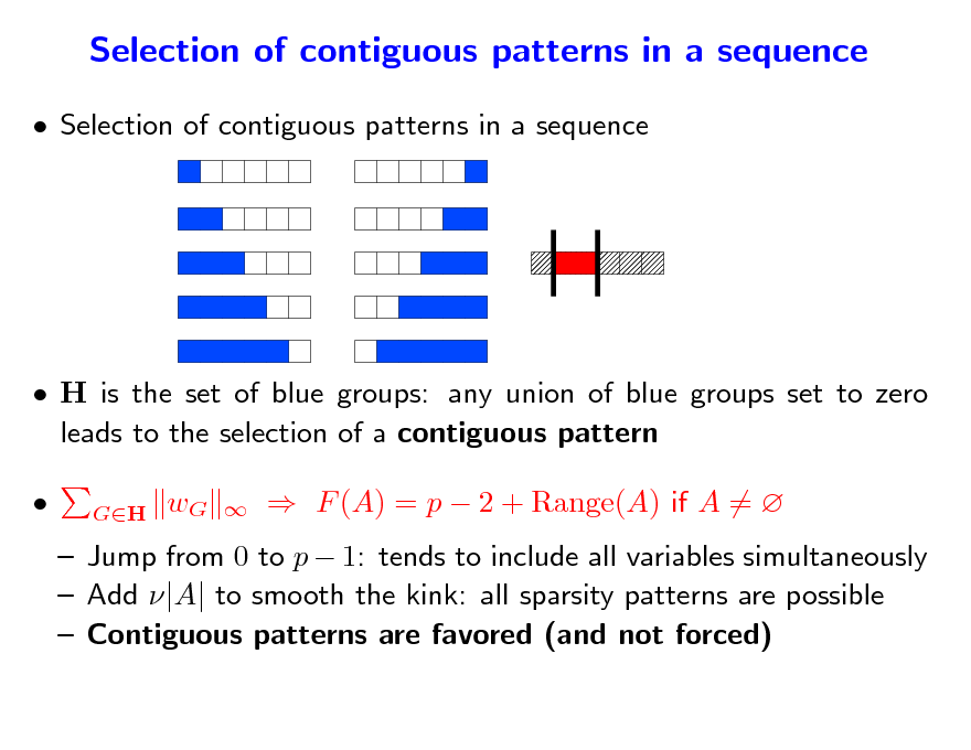 Slide: Selection of contiguous patterns in a sequence  Selection of contiguous patterns in a sequence   H is the set of blue groups: any union of blue groups set to zero leads to the selection of a contiguous pattern  GH  wG     F (A) = p  2 + Range(A) if A =    Jump from 0 to p  1: tends to include all variables simultaneously  Add |A| to smooth the kink: all sparsity patterns are possible  Contiguous patterns are favored (and not forced)