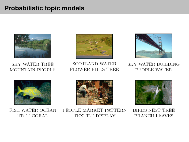 Slide: Probabilistic topic models predicted caption: birds nest leaves branch tree  tain people  Automatic image annotation predicted caption: caption: Automatic predictedwaterpattern textile display predicted caption: tree image annotation leaves branch sky people market tree mountain people birds nest  p p  predicted caption: predicted caption: predicted caption: p predicted caption: predicted predicted caption: utomatic image mountainnest caption: flowers tree coralpredicted caption: image anno SCOTLAND WATER people marketWATER BUILDING e coral SKY WATER TREE sky water buildings people fish branch Automatic sky water textile display SKY patternbuildings people mountain s sky water tree mountain people annotation hills tree birds scotland water ocean leaves water tree predicted caption: MOUNTAIN PEOPLE sky water tree mountain people predicted caption:HILLS TREEpredicted caption: FLOWER PEOPLE WATER birds nest leaves branch tree people market pattern textile display  predicted caption: predicted caption: predicted caption: fish water ocean tree coral sky water buildings people mountain scotland water flowers hills tree Probabilistic modelsof text and images  p.5/53 predicted predicted caption: predicted caption: caption: predicted caption: caption: predicted caption: predicted caption: predicted FISH WATERtree coral MARKET PATTERN tain peoplefish water ocean leaves branch treePEOPLE sky water pattern textile display water flowersleavestree sky water buildings peoplemountain people birds nest OCEAN people market tree mountain scotland BIRDS NEST TREE birds nest hills branch tree  pr pe  TREE CORAL  TEXTILE DISPLAY  BRANCH LEAVES