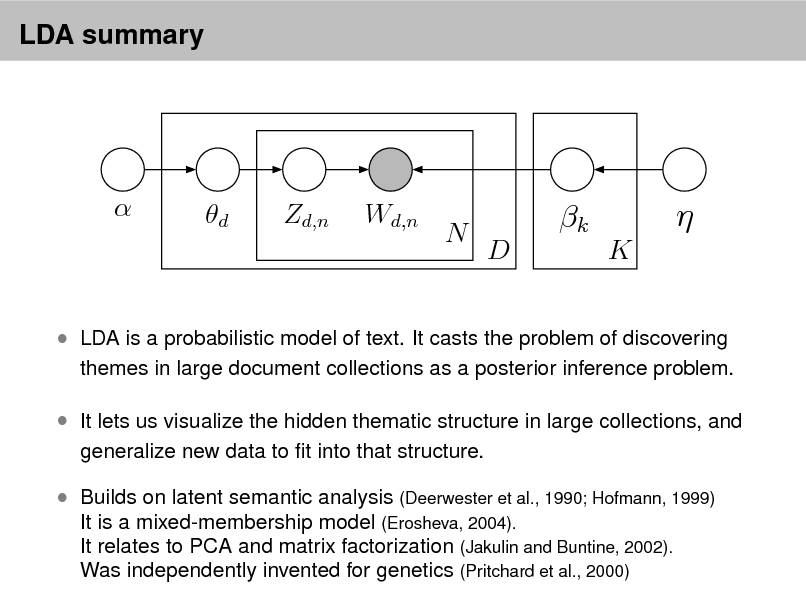 Slide: LDA summary    d  Zd,n  Wd,n  N  k D K     LDA is a probabilistic model of text. It casts the problem of discovering  themes in large document collections as a posterior inference problem.   It lets us visualize the hidden thematic structure in large collections, and generalize new data to t into that structure.   Builds on latent semantic analysis (Deerwester et al., 1990; Hofmann, 1999) It is a mixed-membership model (Erosheva, 2004). It relates to PCA and matrix factorization (Jakulin and Buntine, 2002). Was independently invented for genetics (Pritchard et al., 2000)