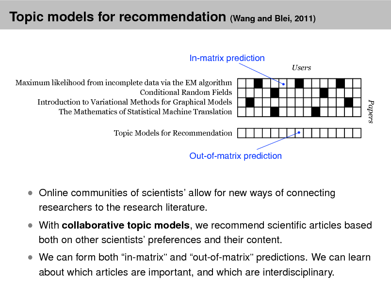 Slide: Topic models for recommendation (Wang and Blei, 2011) In-matrix prediction Users Maximum likelihood from incomplete data via the EM algorithm Conditional Random Fields Introduction to Variational Methods for Graphical Models The Mathematics of Statistical Machine Translation Topic Models for Recommendation  Papers  Out-of-matrix prediction   Online communities of scientists allow for new ways of connecting researchers to the research literature.   With collaborative topic models, we recommend scientic articles based both on other scientists preferences and their content.   We can form both in-matrix and out-of-matrix predictions. We can learn about which articles are important, and which are interdisciplinary.