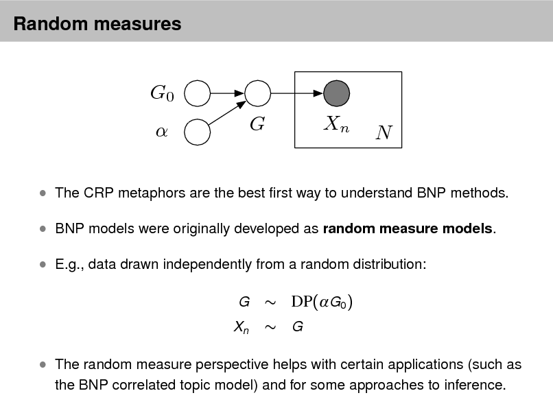 Slide: Random measures  G0  G Xn N   The CRP metaphors are the best rst way to understand BNP methods.  BNP models were originally developed as random measure models.  E.g., data drawn independently from a random distribution: G Xn   DP(G0 )  G   The random measure perspective helps with certain applications (such as the BNP correlated topic model) and for some approaches to inference.