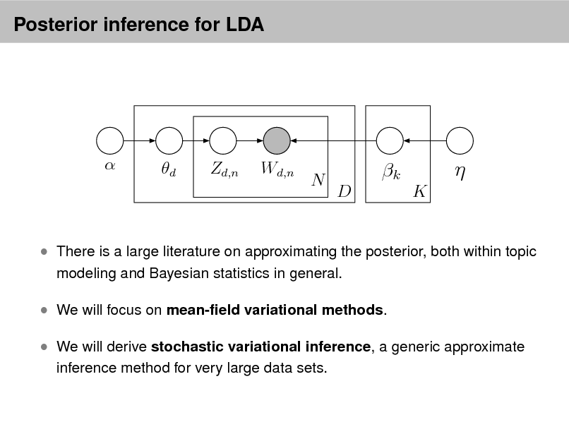 Slide: Posterior inference for LDA    d  Zd,n  Wd,n  N  k D K     There is a large literature on approximating the posterior, both within topic modeling and Bayesian statistics in general.   We will focus on mean-eld variational methods.  We will derive stochastic variational inference, a generic approximate inference method for very large data sets.