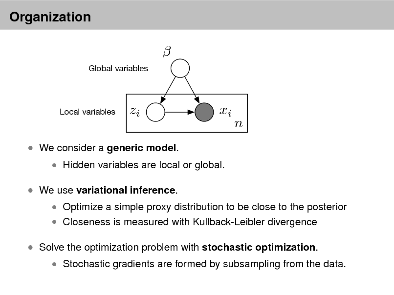 Slide: Organization   Global variables  Local variables  zi  xi  n   We consider a generic model.  We use variational inference.   Hidden variables are local or global.   Optimize a simple proxy distribution to be close to the posterior  Closeness is measured with Kullback-Leibler divergence   Solve the optimization problem with stochastic optimization.   Stochastic gradients are formed by subsampling from the data.