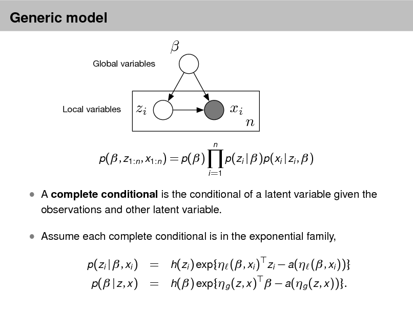 Slide: Generic model   Global variables  Local variables  zi n  xi  n  p( , z1:n , x1:n ) = p( ) i =1  p(zi |  )p(xi | zi ,  )   A complete conditional is the conditional of a latent variable given the observations and other latent variable.   Assume each complete conditional is in the exponential family, p(zi |  , xi ) p( | z , x )  = h(zi ) exp{ ( , xi ) zi  a( ( , xi ))} = h( ) exp{g (z , x )   a(g (z , x ))}.