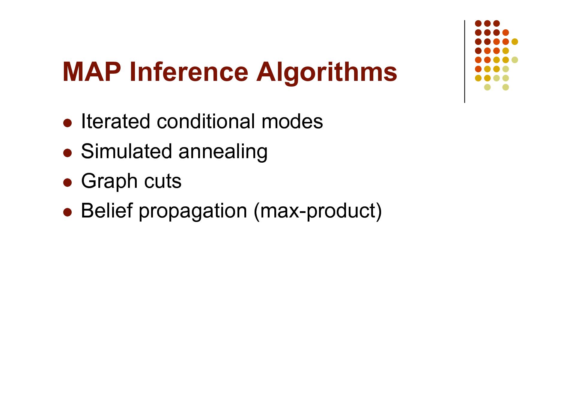 Slide: MAP Inference Algorithms Iterated conditional modes  Simulated annealing  Graph cuts  Belief propagation (max-product)