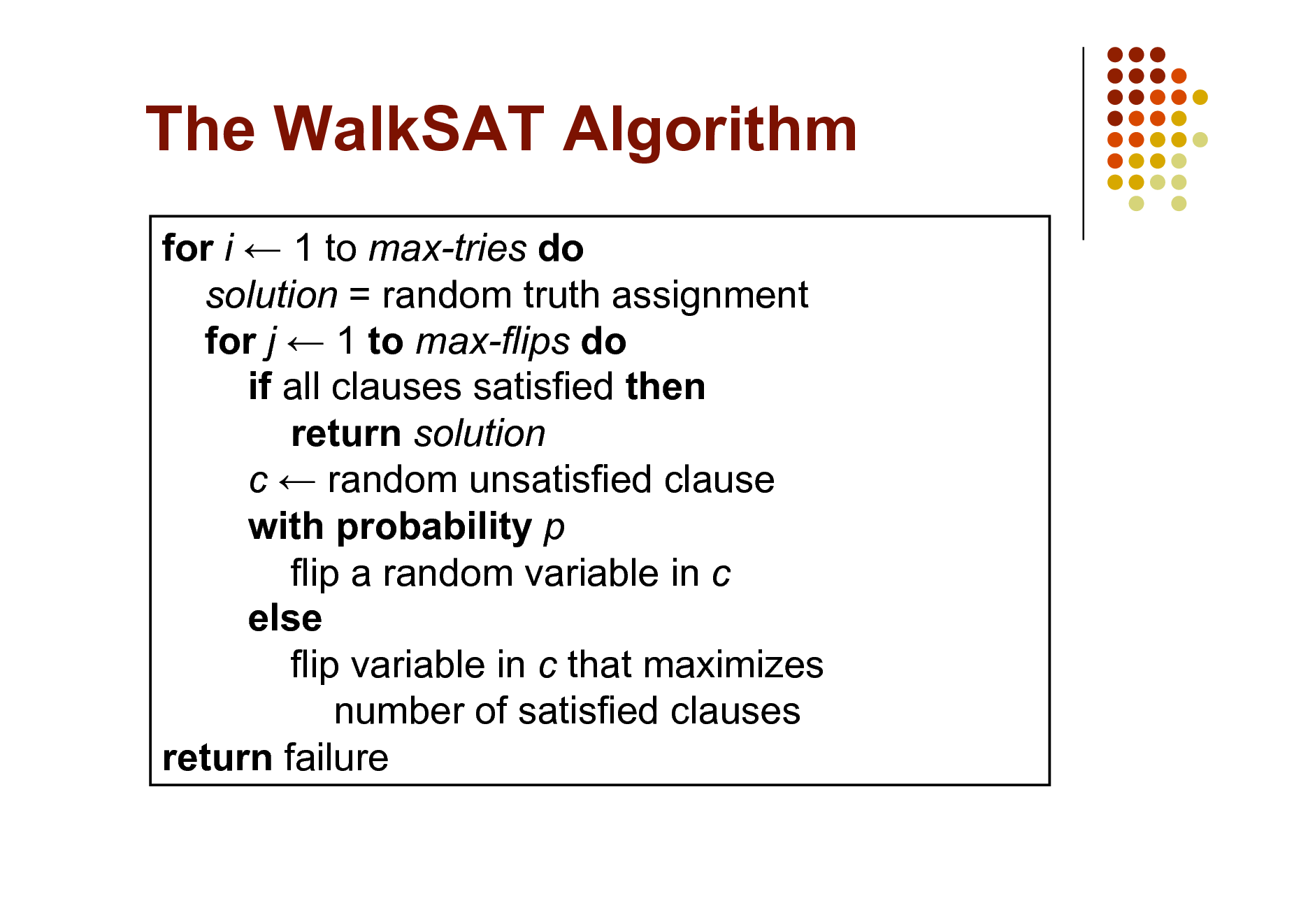 Slide: The WalkSAT Algorithm for i  1 to max-tries do solution = random truth assignment for j  1 to max-flips do if all clauses satisfied then return solution c  random unsatisfied clause with probability p flip a random variable in c else flip variable in c that maximizes number of satisfied clauses return failure