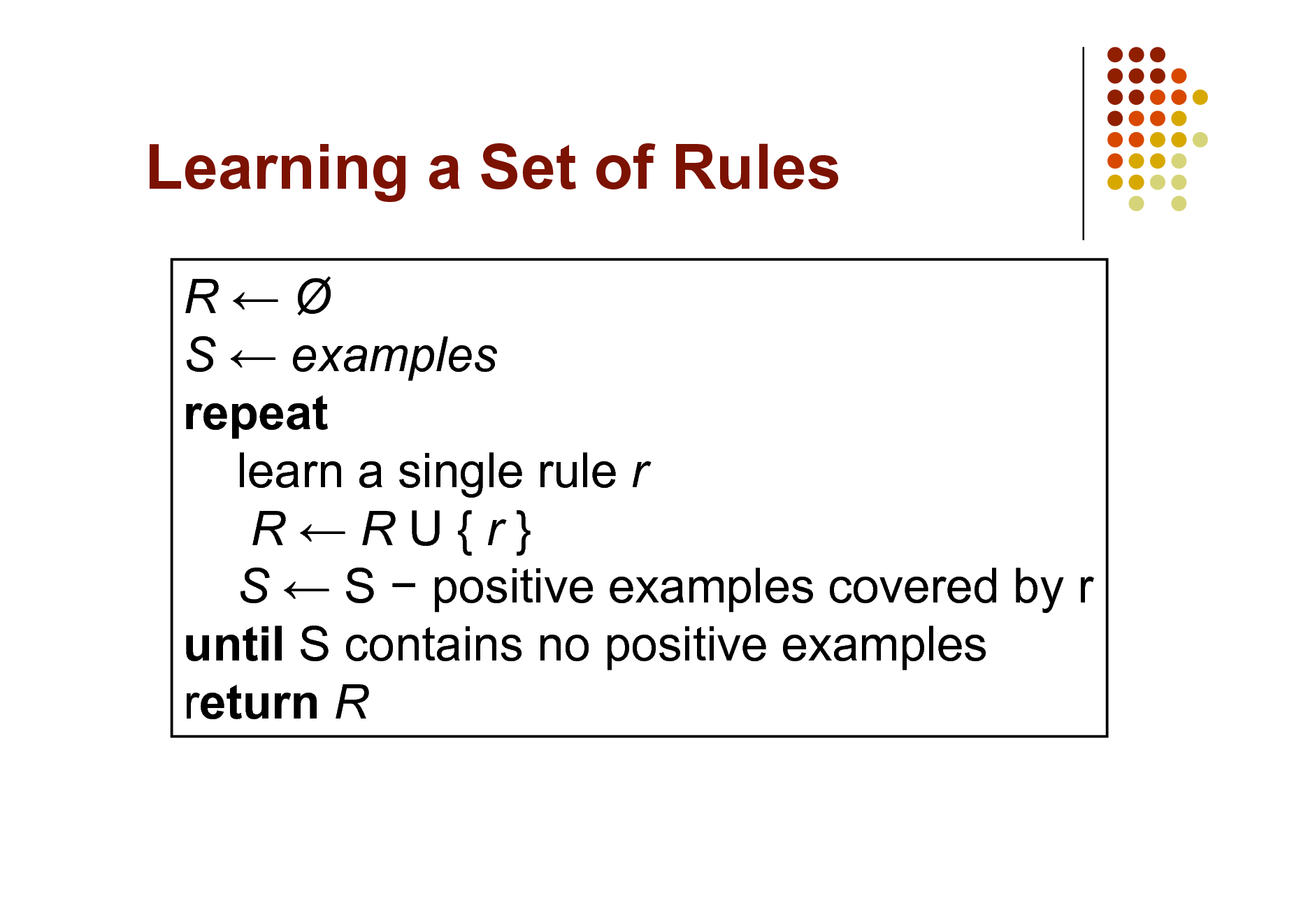 Slide: Learning a Set of Rules R S  examples repeat learn a single rule r RRU{r} S  S  positive examples covered by r until S contains no positive examples return R