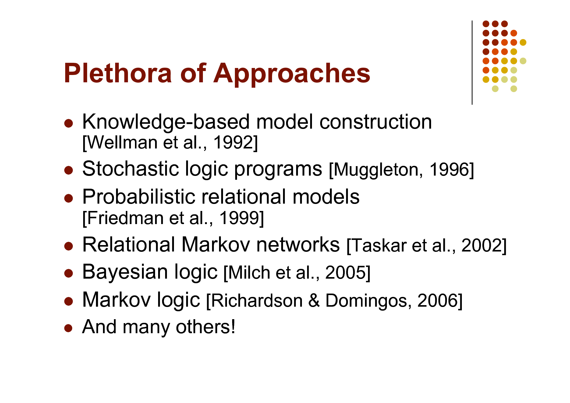 Slide: Plethora of Approaches    Knowledge-based model construction [Wellman et al., 1992]  Stochastic logic programs [Muggleton, 1996]  Probabilistic relational models [Friedman et al., 1999]  Relational Markov networks [Taskar et al., 2002]  Bayesian logic [Milch et al., 2005]  Markov logic [Richardson & Domingos, 2006]    And many others!