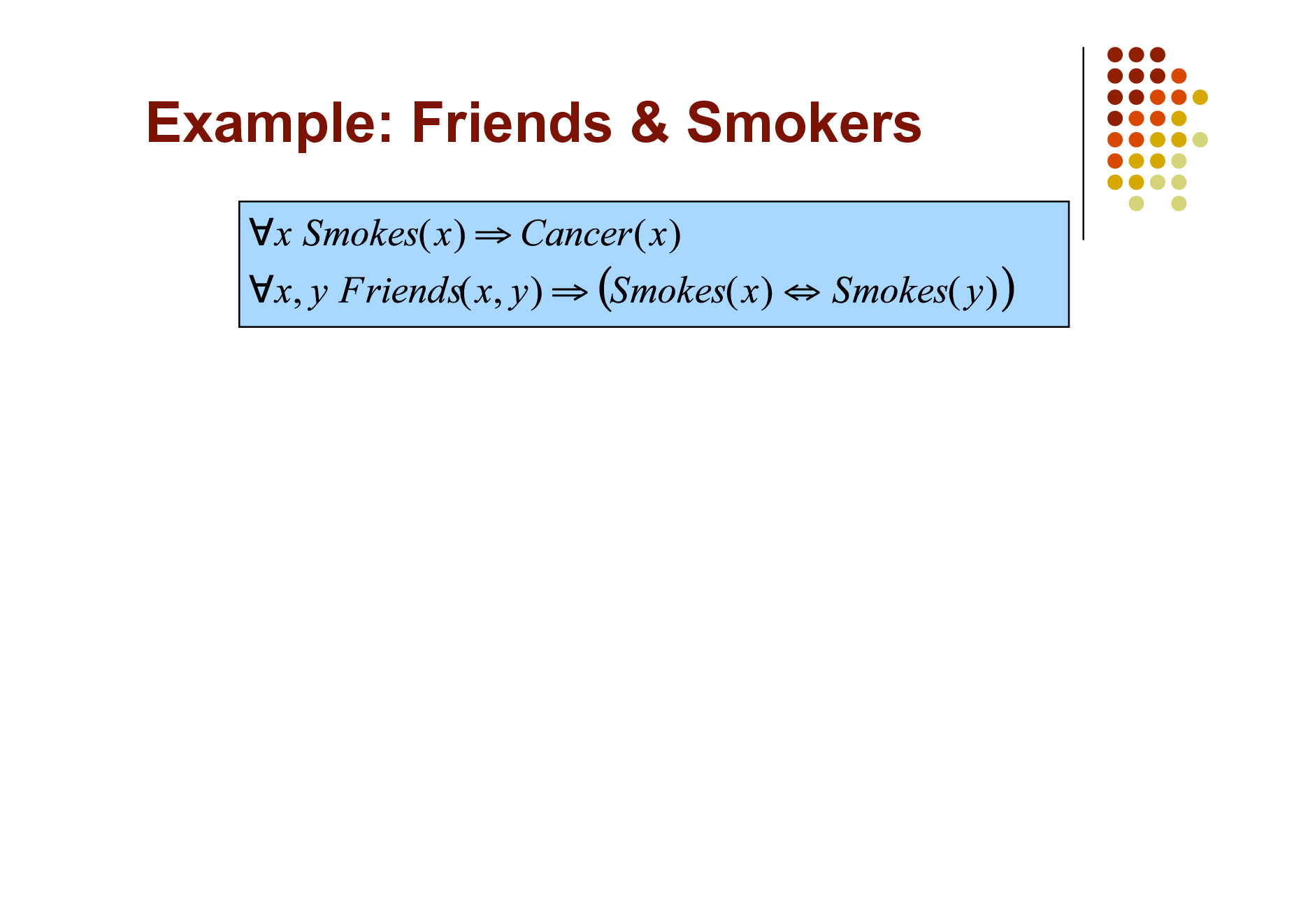 Slide: Example: Friends & Smokers