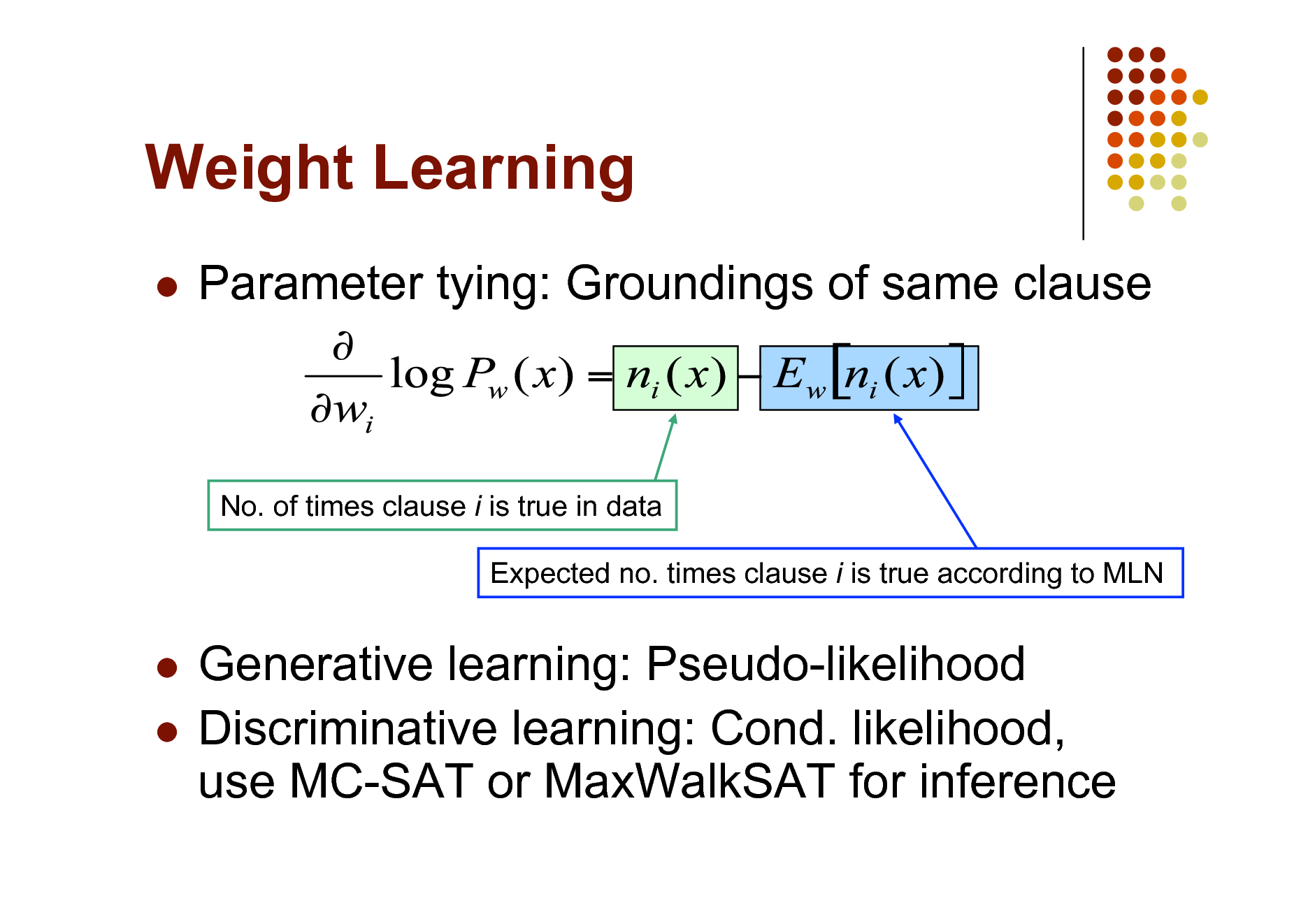 Slide: Weight Learning   Parameter tying: Groundings of same clause  No. of times clause i is true in data Expected no. times clause i is true according to MLN  Generative learning: Pseudo-likelihood  Discriminative learning: Cond. likelihood, use MC-SAT or MaxWalkSAT for inference
