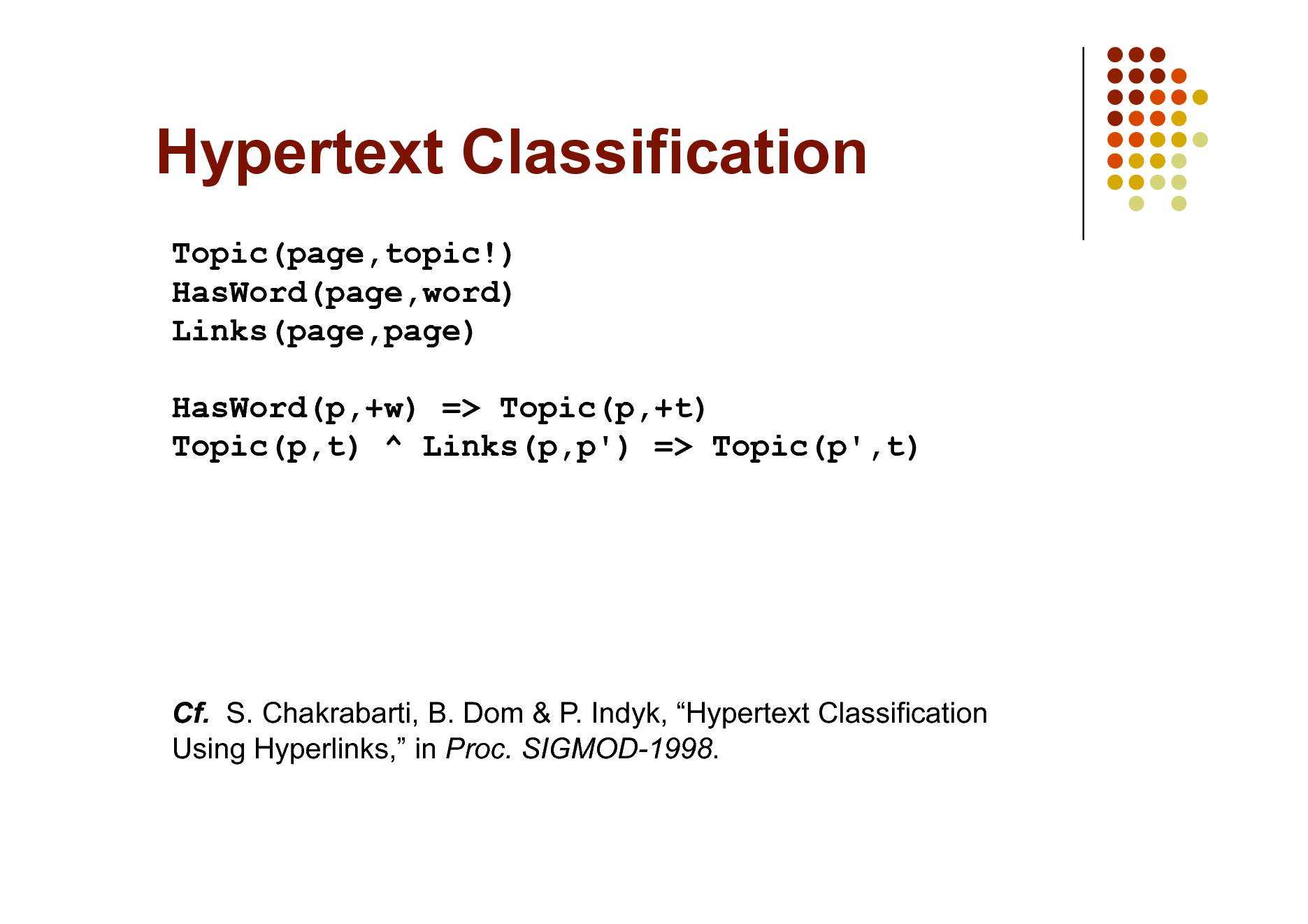 Slide: Hypertext Classification Topic(page,topic!) HasWord(page,word) Links(page,page) HasWord(p,+w) => Topic(p,+t) Topic(p,t) ^ Links(p,p') => Topic(p',t)  Cf. S. Chakrabarti, B. Dom & P. Indyk, Hypertext Classification Using Hyperlinks, in Proc. SIGMOD-1998.