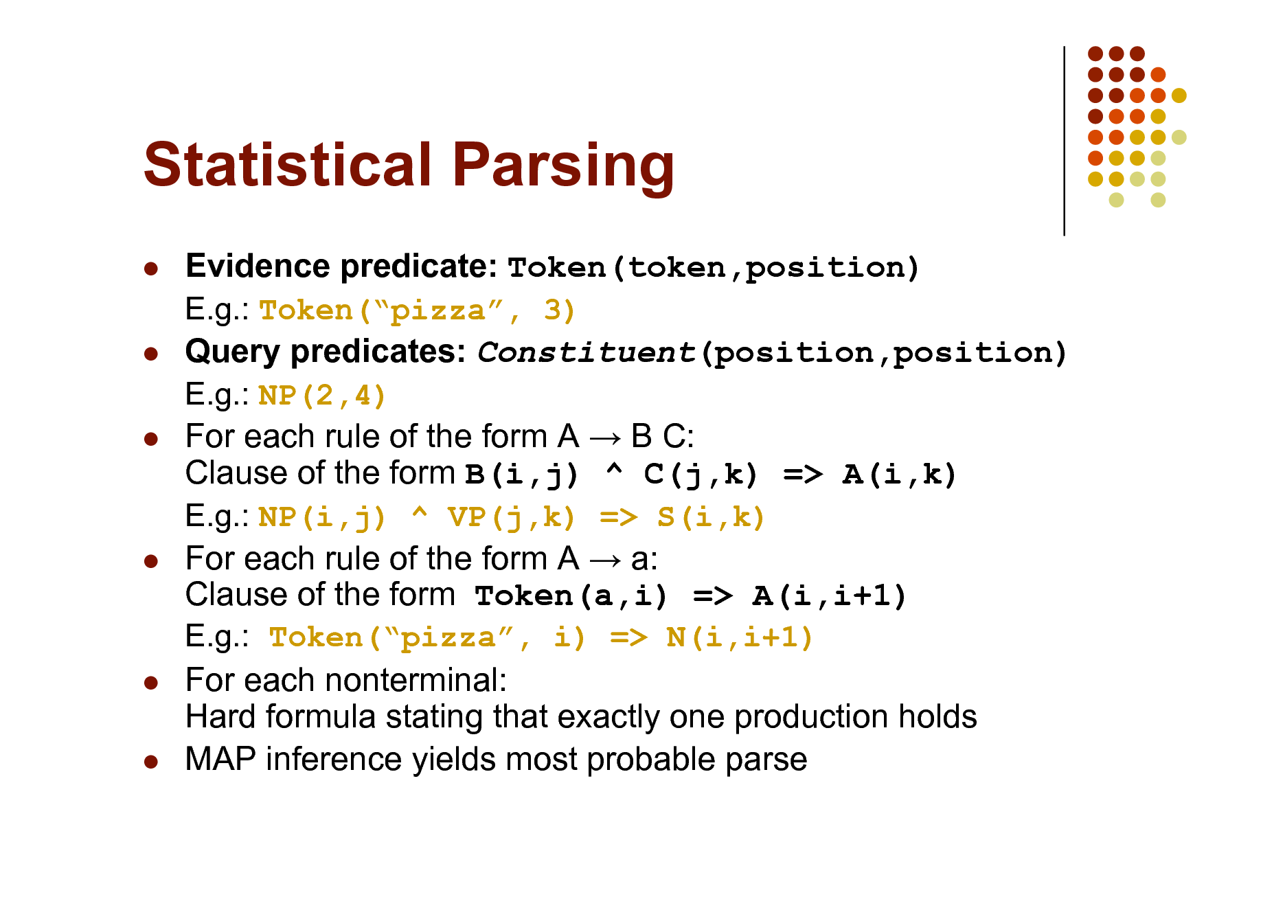 Slide: Statistical Parsing           Evidence predicate: Token(token,position) E.g.: Token(pizza, 3) Query predicates: Constituent(position,position) E.g.: NP(2,4) For each rule of the form A  B C: Clause of the form B(i,j) ^ C(j,k) => A(i,k) E.g.: NP(i,j) ^ VP(j,k) => S(i,k) For each rule of the form A  a: Clause of the form Token(a,i) => A(i,i+1) E.g.: Token(pizza, i) => N(i,i+1) For each nonterminal: Hard formula stating that exactly one production holds MAP inference yields most probable parse