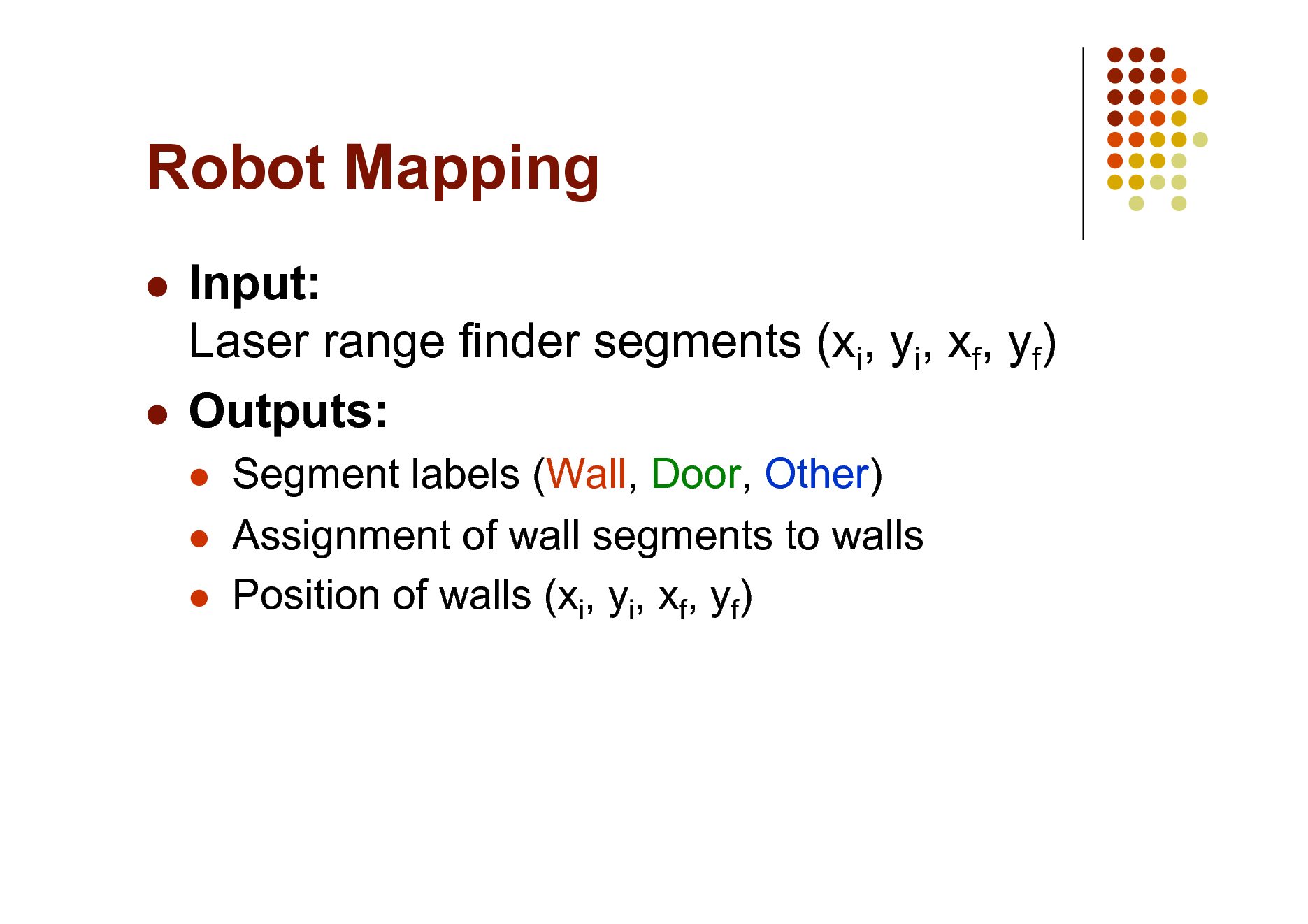 Slide: Robot Mapping Input: Laser range finder segments (xi, yi, xf, yf)  Outputs:      Segment labels (Wall, Door, Other) Assignment of wall segments to walls Position of walls (xi, yi, xf, yf)