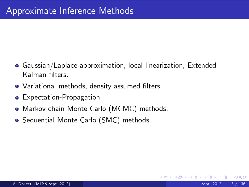 Slide: Approximate Inference Methods  Gaussian/Laplace approximation, local linearization, Extended Kalman lters. Variational methods, density assumed lters. Expectation-Propagation. Markov chain Monte Carlo (MCMC) methods. Sequential Monte Carlo (SMC) methods.  A. Doucet (MLSS Sept. 2012)  Sept. 2012  5 / 136