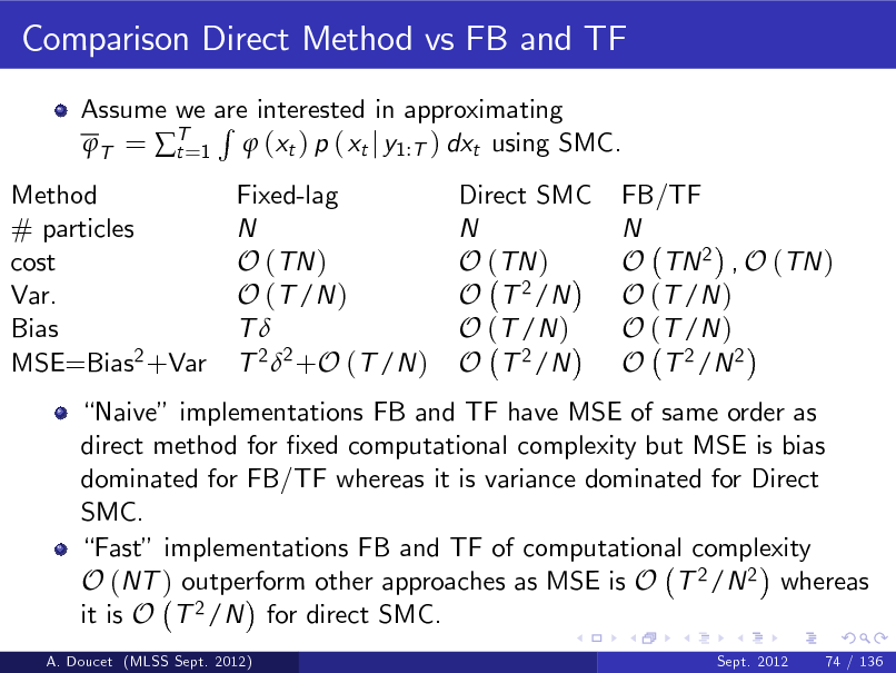 Slide: Comparison Direct Method vs FB and TF Assume we are interested in approximating R T = T=1  (xt ) p ( xt j y1:T ) dxt using SMC. t Fixed-lag N O (TN ) O (T /N ) T T 2 2 +O (T /N ) Direct SMC N O (TN ) O T 2 /N O (T /N ) O T 2 /N  Method # particles cost Var. Bias MSE=Bias2 +Var  FB/TF N O TN 2 , O (TN ) O (T /N ) O (T /N ) O T 2 /N 2  Naive implementations FB and TF have MSE of same order as direct method for xed computational complexity but MSE is bias dominated for FB/TF whereas it is variance dominated for Direct SMC. Fast implementations FB and TF of computational complexity O (NT ) outperform other approaches as MSE is O T 2 /N 2 whereas it is O T 2 /N for direct SMC. A. Doucet (MLSS Sept. 2012) Sept. 2012 74 / 136