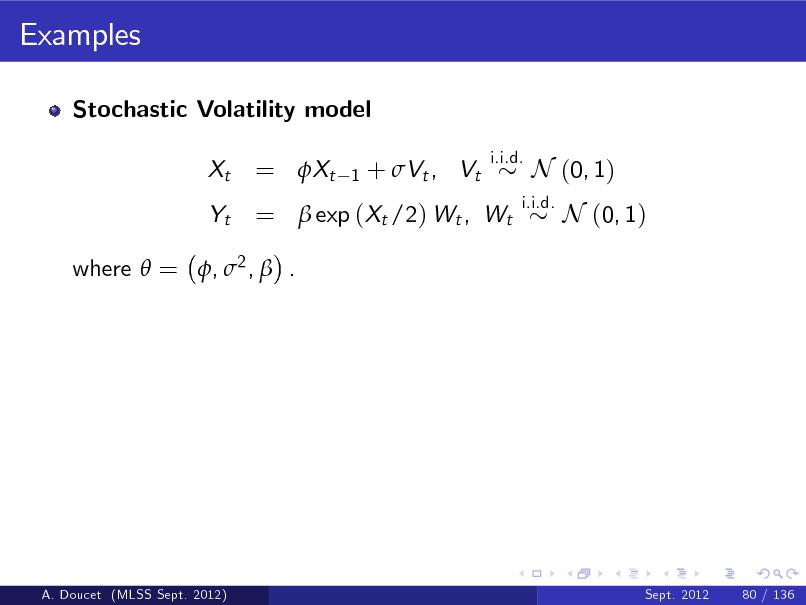 Slide: Examples Stochastic Volatility model Xt Yt  = Xt  1  + Vt , Vt  i.i.d.  =  exp (Xt /2) Wt , Wt  i.i.d.  N (0, 1) N (0, 1)  where  = , 2 ,  .  A. Doucet (MLSS Sept. 2012)  Sept. 2012  80 / 136
