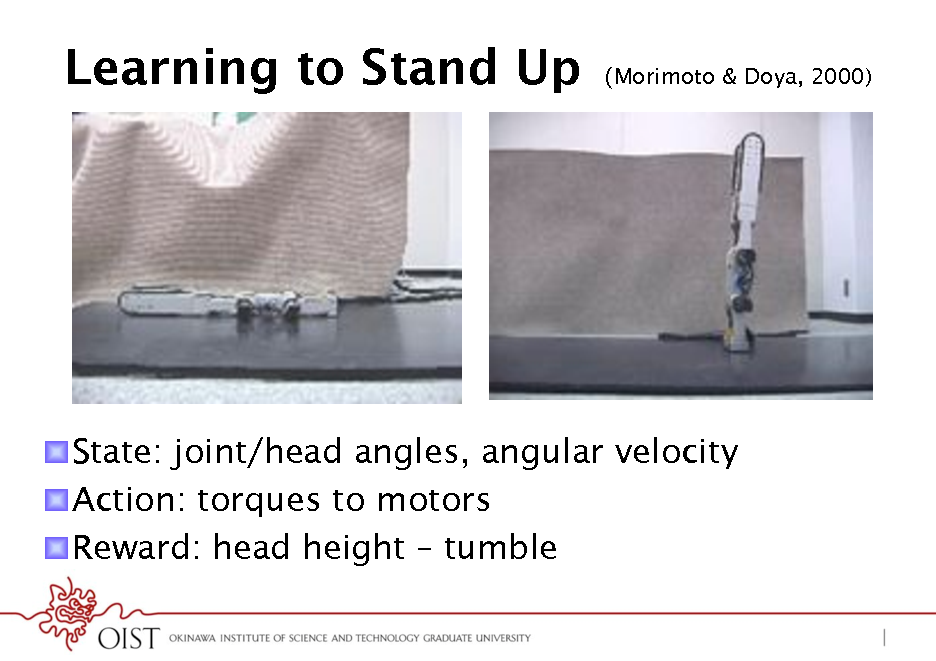 Slide: Learning to Stand Up  Morimoto & Doya, 2000)  ! State: joint/head angles, angular velocity ! Action: torques to motors ! Reward: head height  tumble