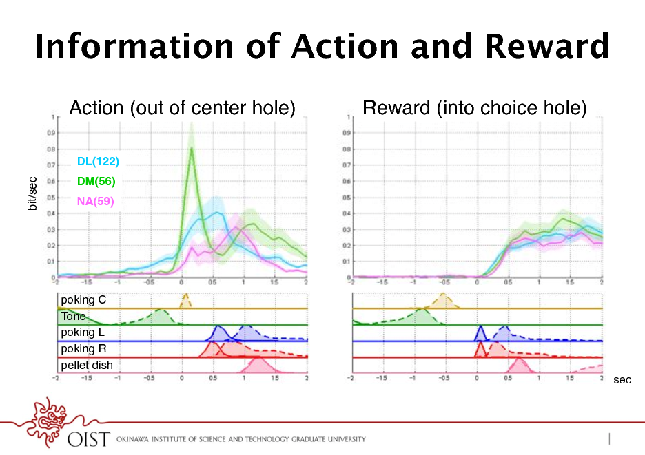 Slide: Information of Action and Reward Action (out of center hole) ! DL(122)! bit/sec!  Reward (into choice hole) !  DM(56)! NA(59)!  poking C! Tone! poking L! poking R! pellet dish! sec!