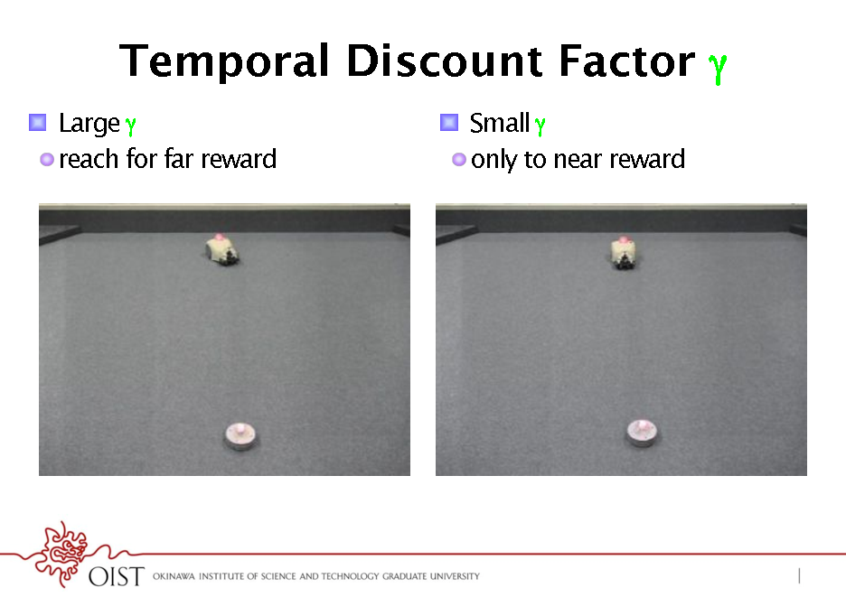Slide: Temporal Discount Factor * !  Large  ! reach for far reward* !  Small  ! only to near reward*