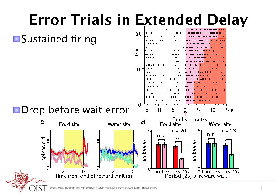 Slide: Error Trials in Extended Delay 0 0 5 Time (s) 0 5 10 Time (s) 15 0 0 5 Time (s) 0 5 10 Time (s) 15  ! SustainedTone site firing b Trial 10  Food site  Tone site  Water site  0  Trial 0 5 Time (s) 0 5 Time (s)  10  0  ! Drop before wait error c spikes s-1 5 5  0  5 Time (s)  0 5 Time (s)  d 5 n = 26 5  spikes s-1  ***  0  0 -2 0 -2 0 Time from end of reward wait (s)  0  0 First 2s Last 2s First 2s Last 2s Period (2s) of reward wait  e  spikes s-1  n.s.  n.s.  n = 23 **
