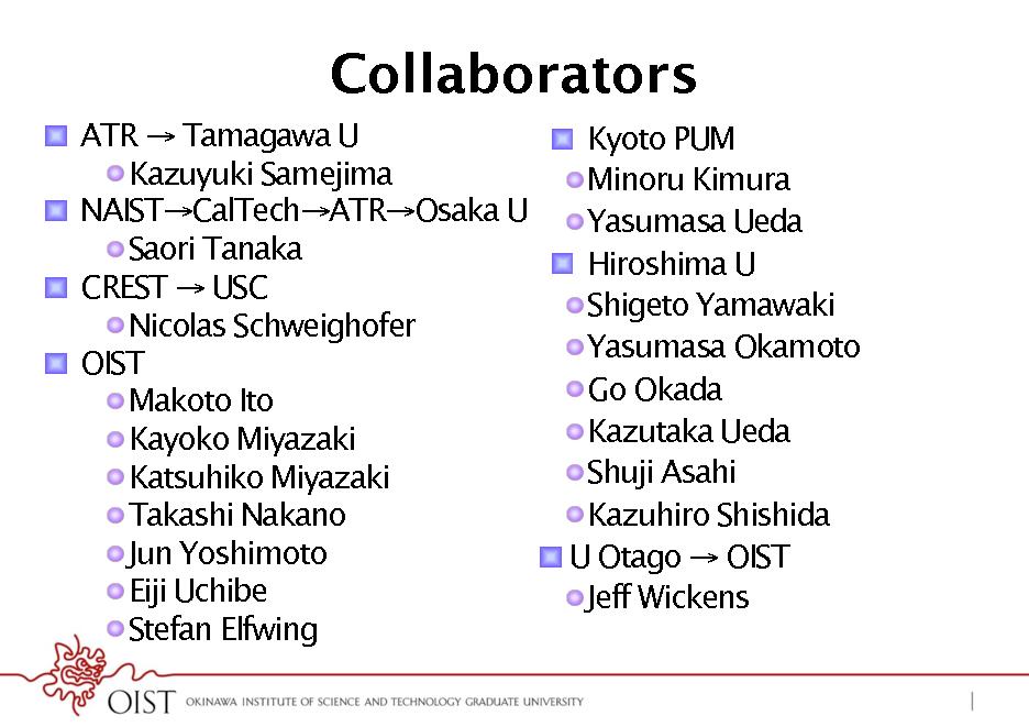 Slide: Collaborators !  ATR  Tamagawa U !  Kyoto PUM ! Kazuyuki Samejima ! Minoru Kimura ! NAISTCalTechATROsaka U ! Yasumasa Ueda ! Saori Tanaka !  Hiroshima U !  CREST  USC ! Shigeto Yamawaki ! Nicolas Schweighofer ! Yasumasa Okamoto !  OIST ! Go Okada ! Makoto Ito ! Kazutaka Ueda ! Kayoko Miyazaki ! Shuji Asahi ! Katsuhiko Miyazaki ! Kazuhiro Shishida ! Takashi Nakano ! Jun Yoshimoto !  U Otago  OIST ! Eiji Uchibe ! Jeff Wickens ! Stefan Elfwing
