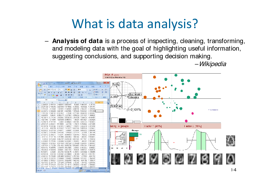 Slide: Whatisdataanalysis?  Analysis of data is a process of inspecting, cleaning, transforming, and modeling data with the goal of highlighting useful information, suggesting conclusions, and supporting decision making. Wikipedia  I-4